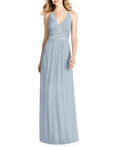 V-Neck Sleeveless Cross-Back Luxe Chiffon Gown Bridesmaid Dress