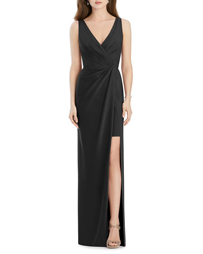 Jenny Packham Bridesmaids V-Neck Sleeveless Drape-Front Gown Bridesmaid Dress with Slit