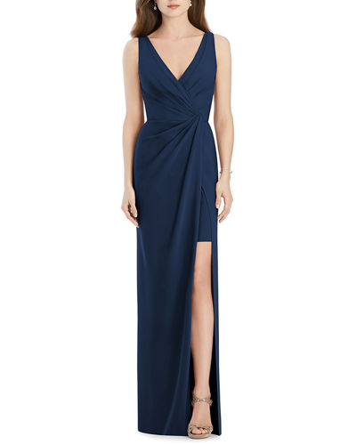 V-Neck Sleeveless Drape-Front Gown Bridesmaid Dress with Slit