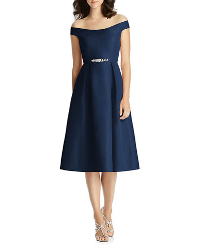 Off-the-Shoulder Cap-Sleeve Mikado Cocktail Dress w/ Beaded Belt