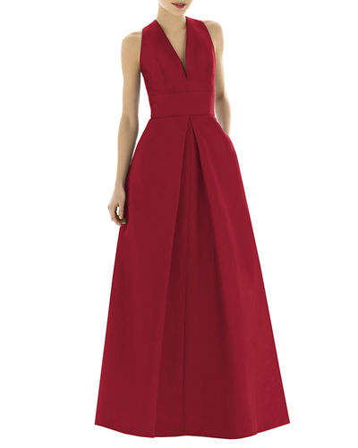 V-Neck Sleeveless A-Line Gown w/ Inverted Pleat
