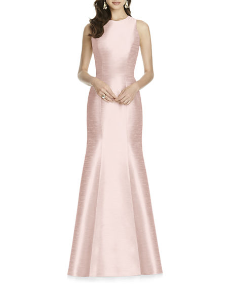 Alfred Sung Sleeveless Mermaid Gown w/ Cutout-Back & Bow Accent