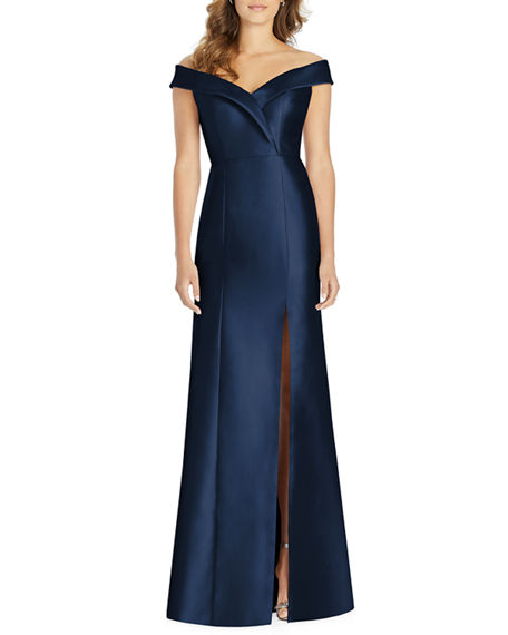 Alfred Sung Off-the-Shoulder Short-Sleeve Gown with Slit