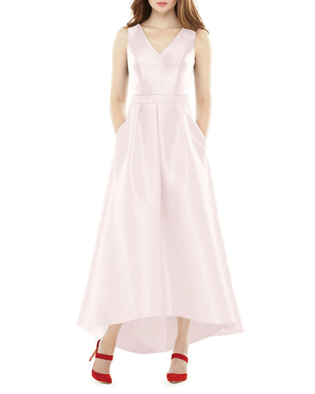 Alfred Sung V-Neck Sleeveless High-Low Sateen Twill Gown