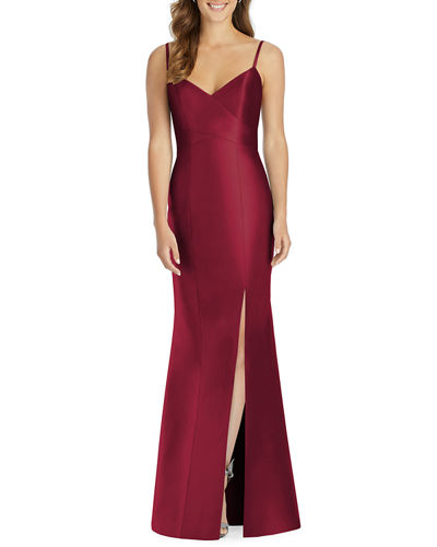 V-Neck Spaghetti-Strap Sateen Twill Gown Bridesmaid Dress with Slit