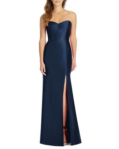 Strapless Sweetheart Sateen Twill Column Gown Bridesmaid Dress