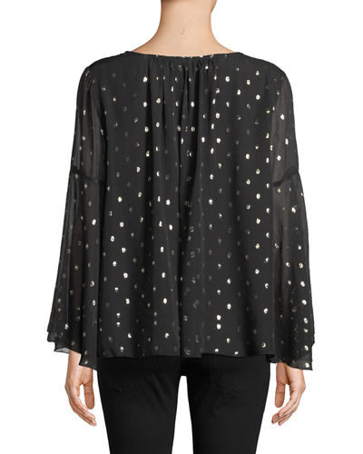 Johnny Was Bianca V-Neck Metallic Silk Blouse