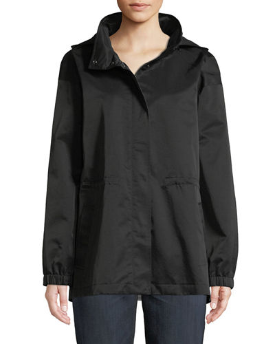Organic Cotton-Nylon Utility Jacket with Hidden Hood