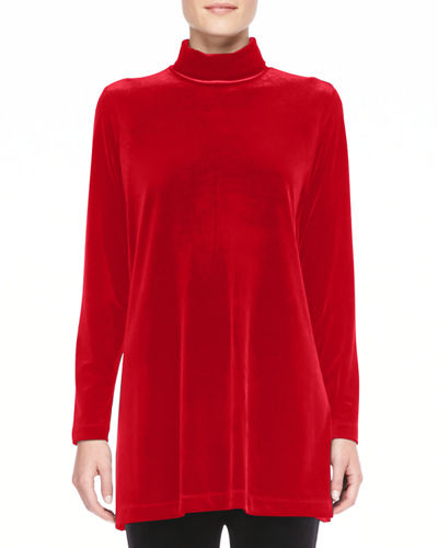 Petite Velour Long-Sleeve Turtleneck Tunic
