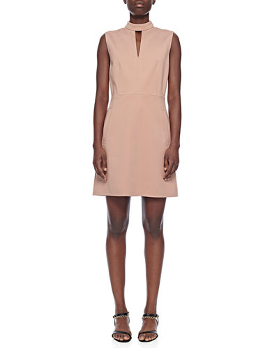Tibi Mock-Neck Sleeveless A-Line Mini Dress with Pockets
