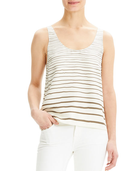 Theory Striped Scoop-Neck Silk Tank Top