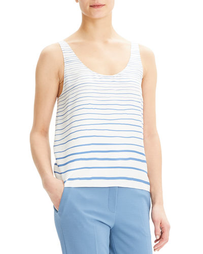 bb9aed158b Quick Look. Theory · Striped Scoop-Neck Silk Tank Top