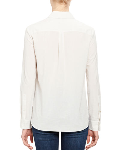 Theory Button-Front Long-Sleeve Straight Cotton Shirt