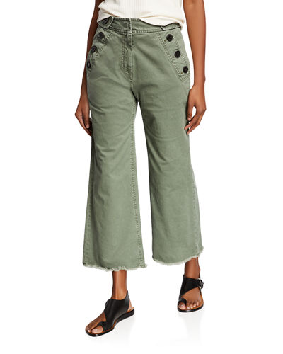 Slim Raw-Edge Culottes with Button Details