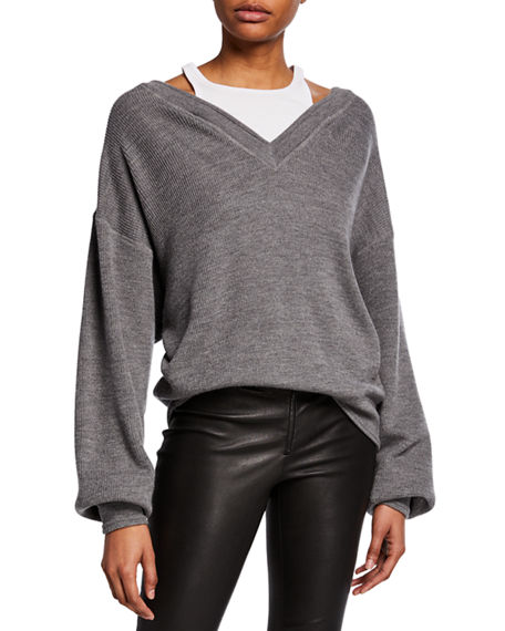 Alexanderwang.t Sweaters BI-LAYER V-NECK SWEATER WITH TANK