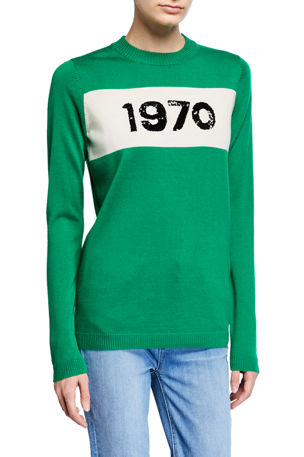 Bella Freud Sequin 1970 Crewneck Wool Sweater