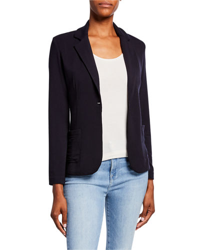 French-Terry One-Button Blazer