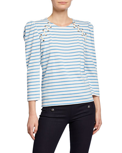 Eli Striped 3/4-Sleeve Looped Grommet Baseball Tee