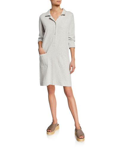 3/4-Sleeve Button-Front Cotton Interlock Shirtdress w/ Pockets