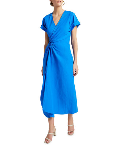 Edie V-Neck Short-Sleeve Ruched Dress w/ Slit