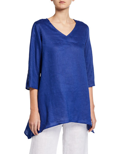Petite V-Neck Split-Sleeve Tissue-Linen Side-Fall Tunic