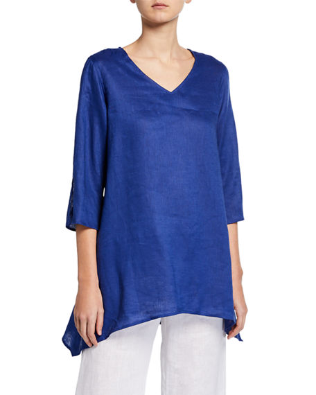 Caroline Rose Petite V-Neck Split-Sleeve Tissue-Linen Side-Fall Tunic