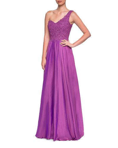 One-shoulder Embellished Lace Bodice Chiffon Gown