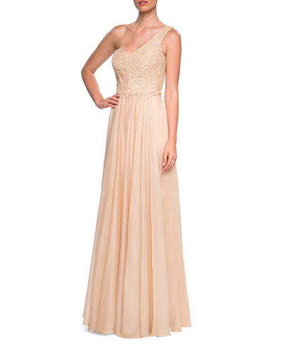 b530a061608 Quick Look. La Femme · One-shoulder Embellished Lace Bodice Chiffon Gown
