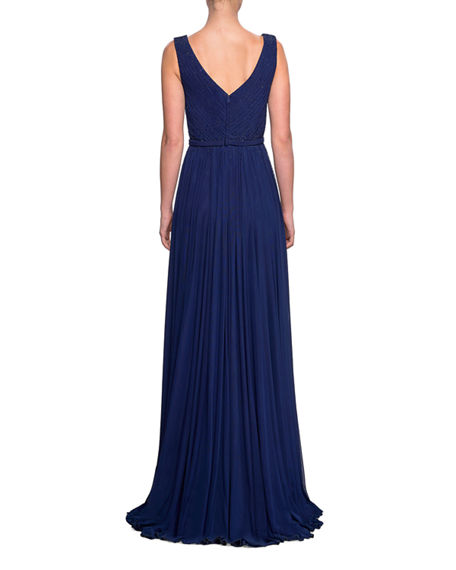 Image 2 of 2: La Femme Sleeveless Ruched-Bodice Net Jersey Gown w/ Tonal Rhinestones