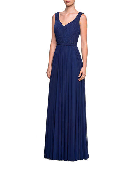 Image 1 of 2: La Femme Sleeveless Ruched-Bodice Net Jersey Gown w/ Tonal Rhinestones