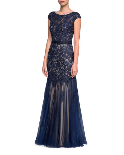 Bateau-Neck Cap-Sleeve Lace Gown w/ Belted Waist