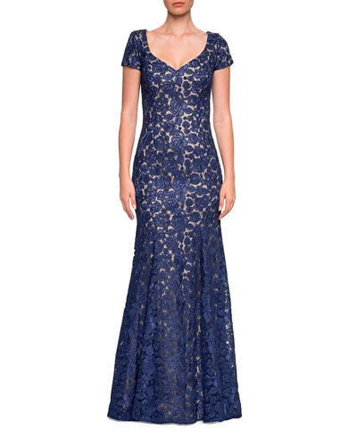 Floral Lace V-Neck Short-Sleeve Mermaid Gown
