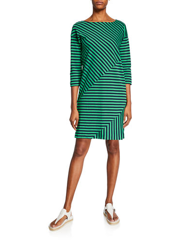 Mini Striped Boat-Neck 3/4-Sleeve Cotton-Interlock Dress