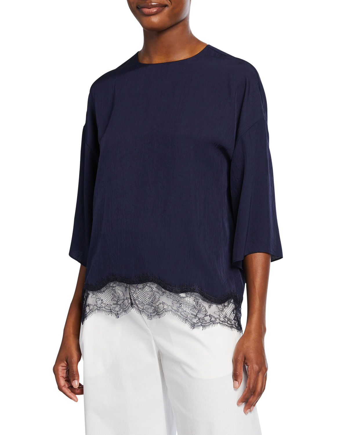 Vince Tops CREWNECK HALF-SLEEVE LACE TRIM TEE