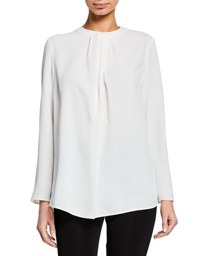 Long-Sleeve Twisted-Neck Blouse