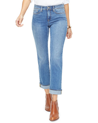 Marilyn Straight-Leg Ankle Jeans w/ Clean Cuffs