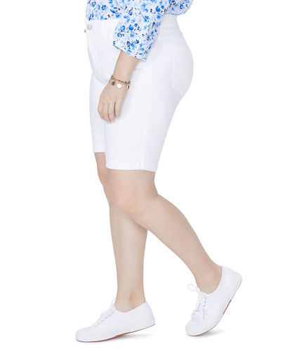 Plus Size Braille Twill Roll Cuff Shorts