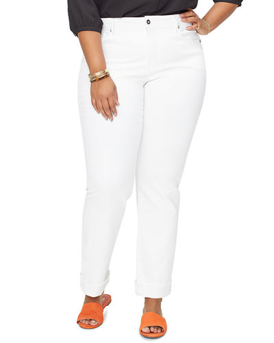 Plus Size Marilyn Straight-Leg Ankle Jeans w/ Clean Cuffs