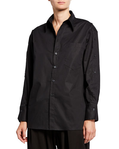 Plus Size Button-Front Cotton Poplin Shirt w/ Side-Button Detail