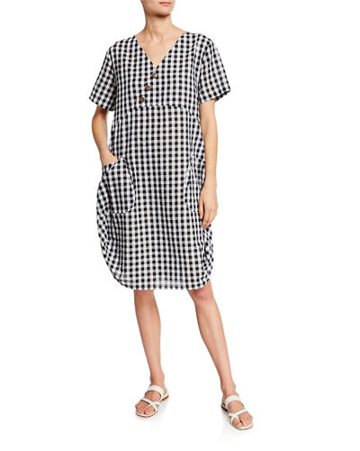 DUBGEE by Whoopi Plus Size Short-Sleeve Gingham Cocoon Dress w/ Pockets & Button Detail