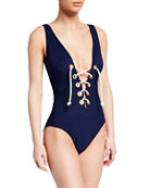 Karla Colletto Colette Lace-Up One-Piece Swimsuit