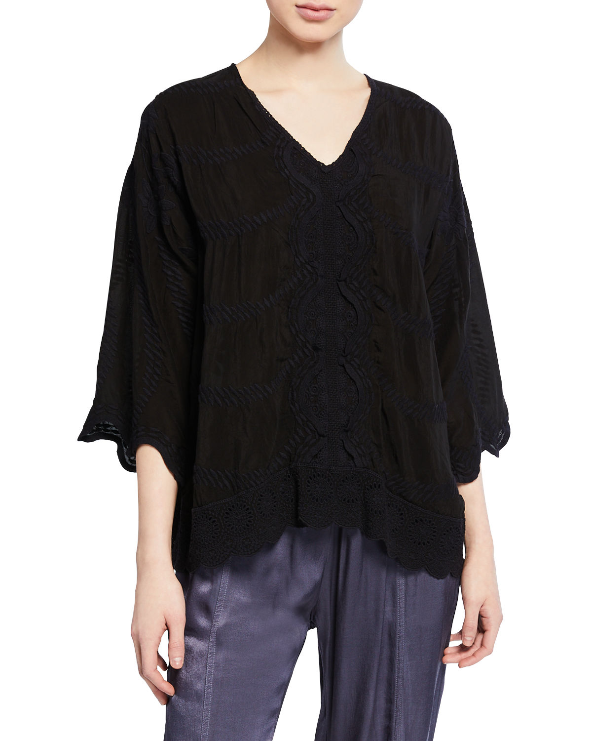 Johnny Was Tops MILIANA V-NECK GEORGETTE TUNIC W/ DAISY-EMBROIDERED BACK