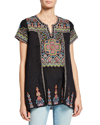 Tamia Embroidered Draped Top
