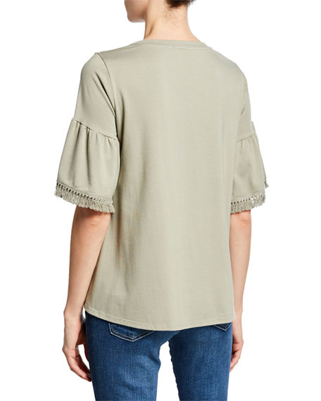 Image 2 of 2: Johnny Was Trimmed-Sleeve Swing Tee