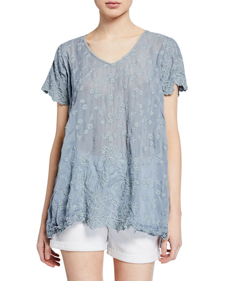 Johnny Was Tops AUBREY FLORAL-EMBROIDERED SCOOP-NECK GEORGETTE TUNIC