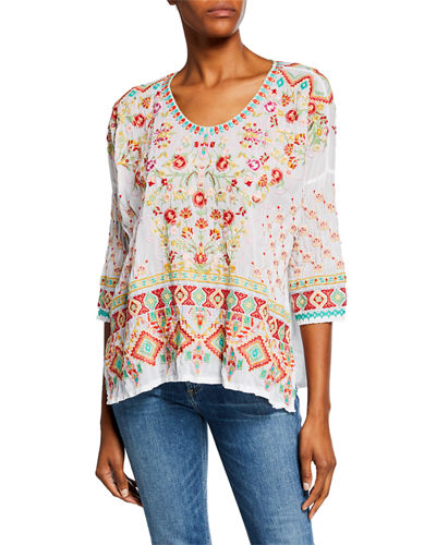5013af36 Quick Look. Johnny Was · Sandra Embroidered Dolman-Sleeve Georgette Top