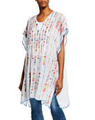 Johnny Was Embroidered Georgette Poncho with Side Slits