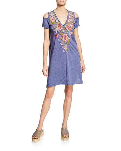 Cecile V-Neck Cold-Shoulder Jersey Tunic Dress w/ Embroidery