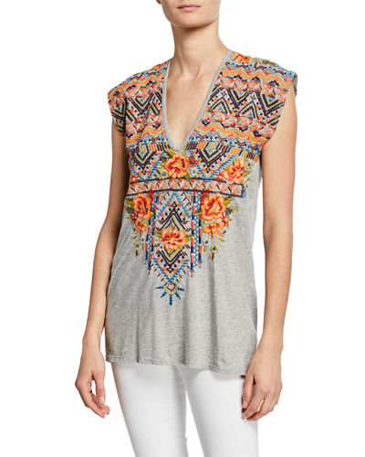 Plus Size Sentrie Scoop-Neck Embroidered Top
