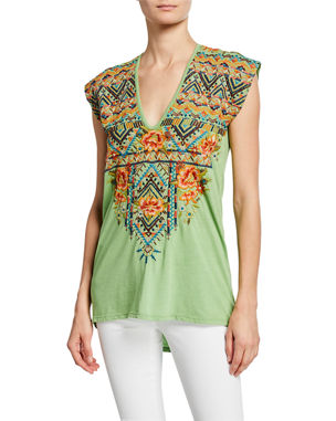 c474cd1440da7 Johnny Was Plus Size Sentrie Scoop-Neck Embroidered Top